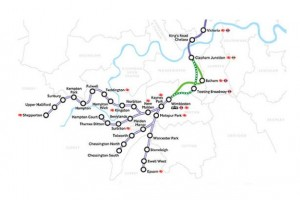 The proposed Surrey routes forming part of Crossrail 2