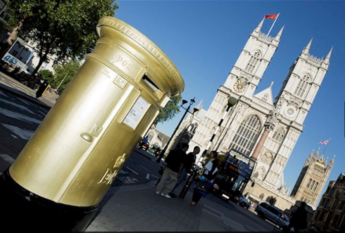 To mark the achievements of British gold medal winners during the 2012 Summer Olympics and 2012 Summer Paralympics, Royal Mail painted post boxes gold in the winners home towns.